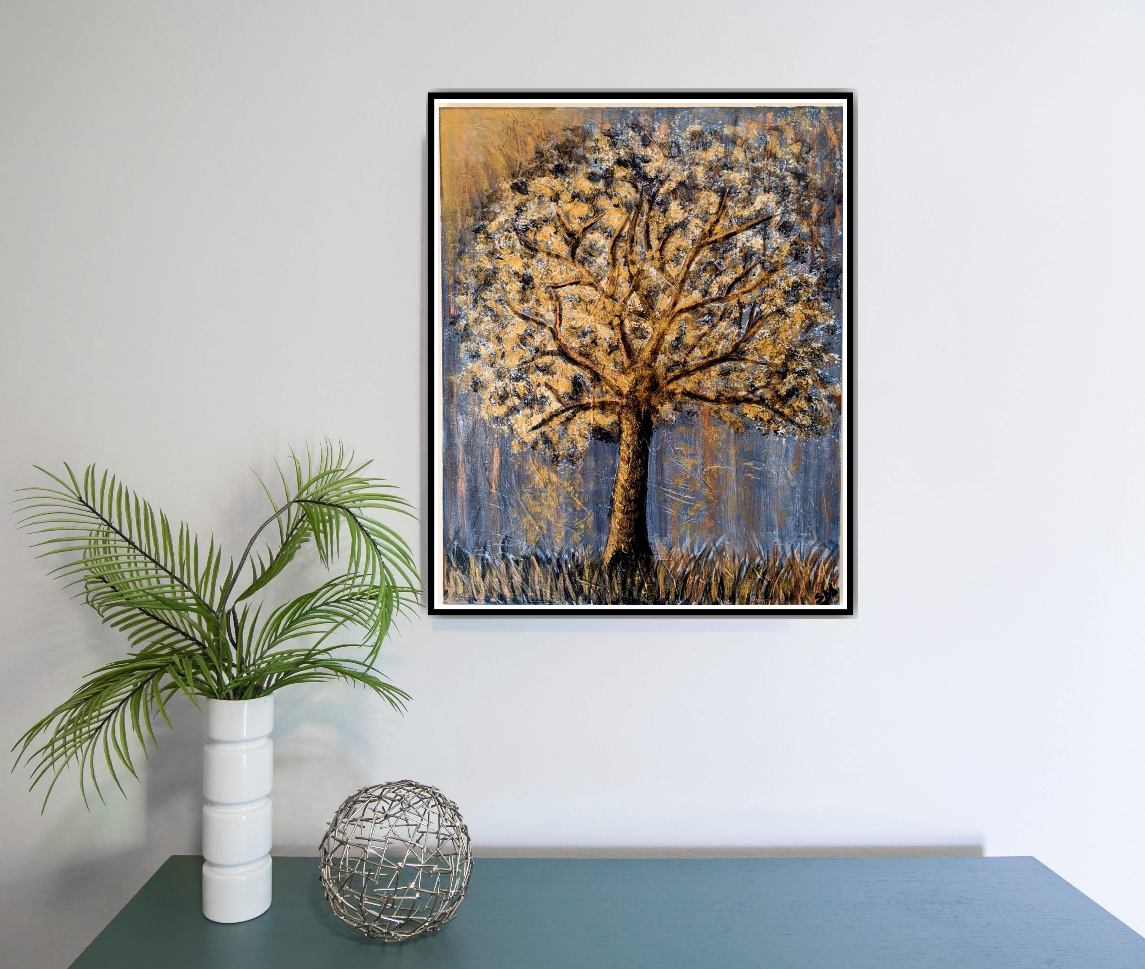 Gold Tree on Wall Painting