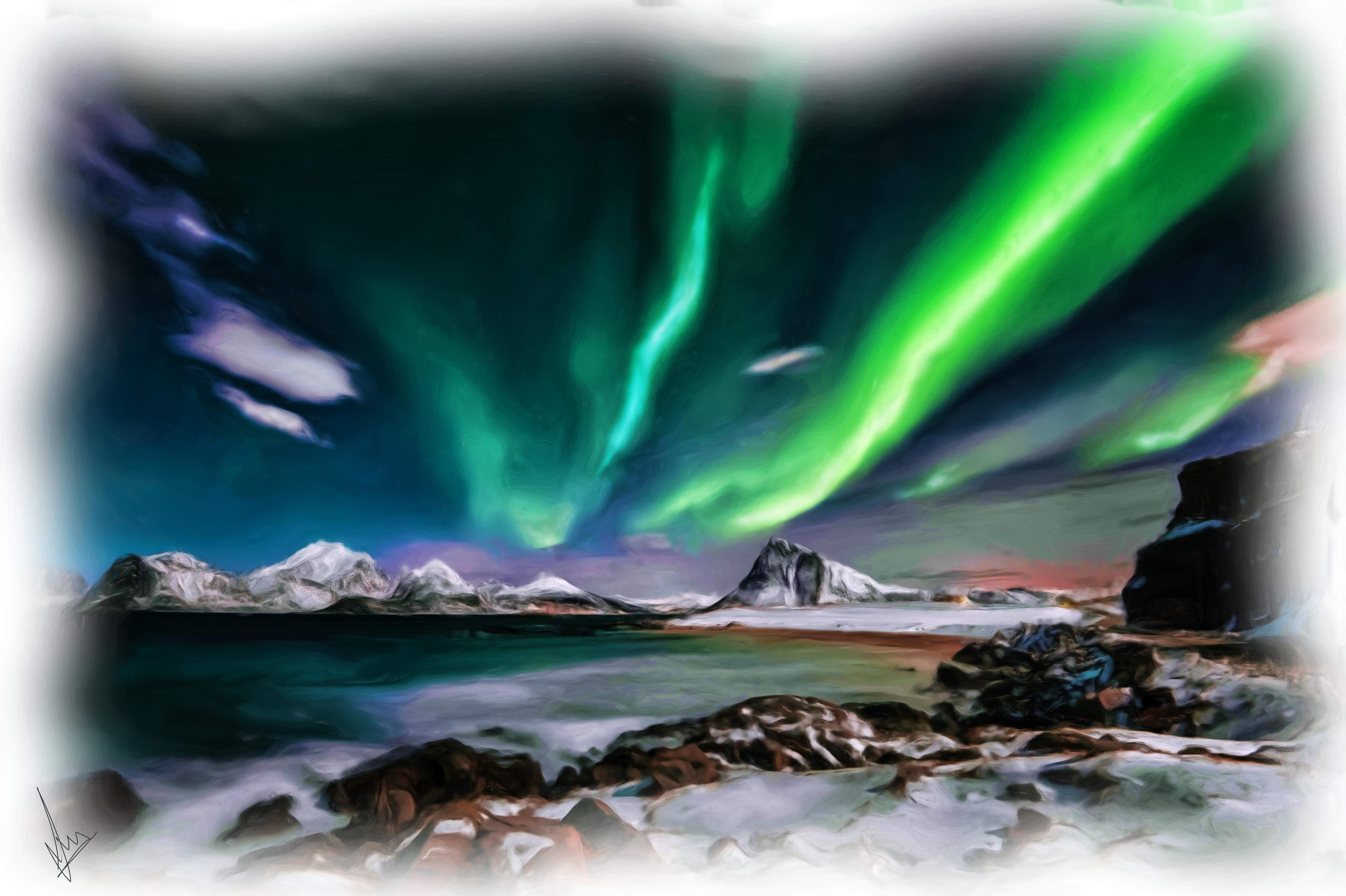 Northern Lights, a beauty of nature - Digital Painting by Shaalyn Monteiro