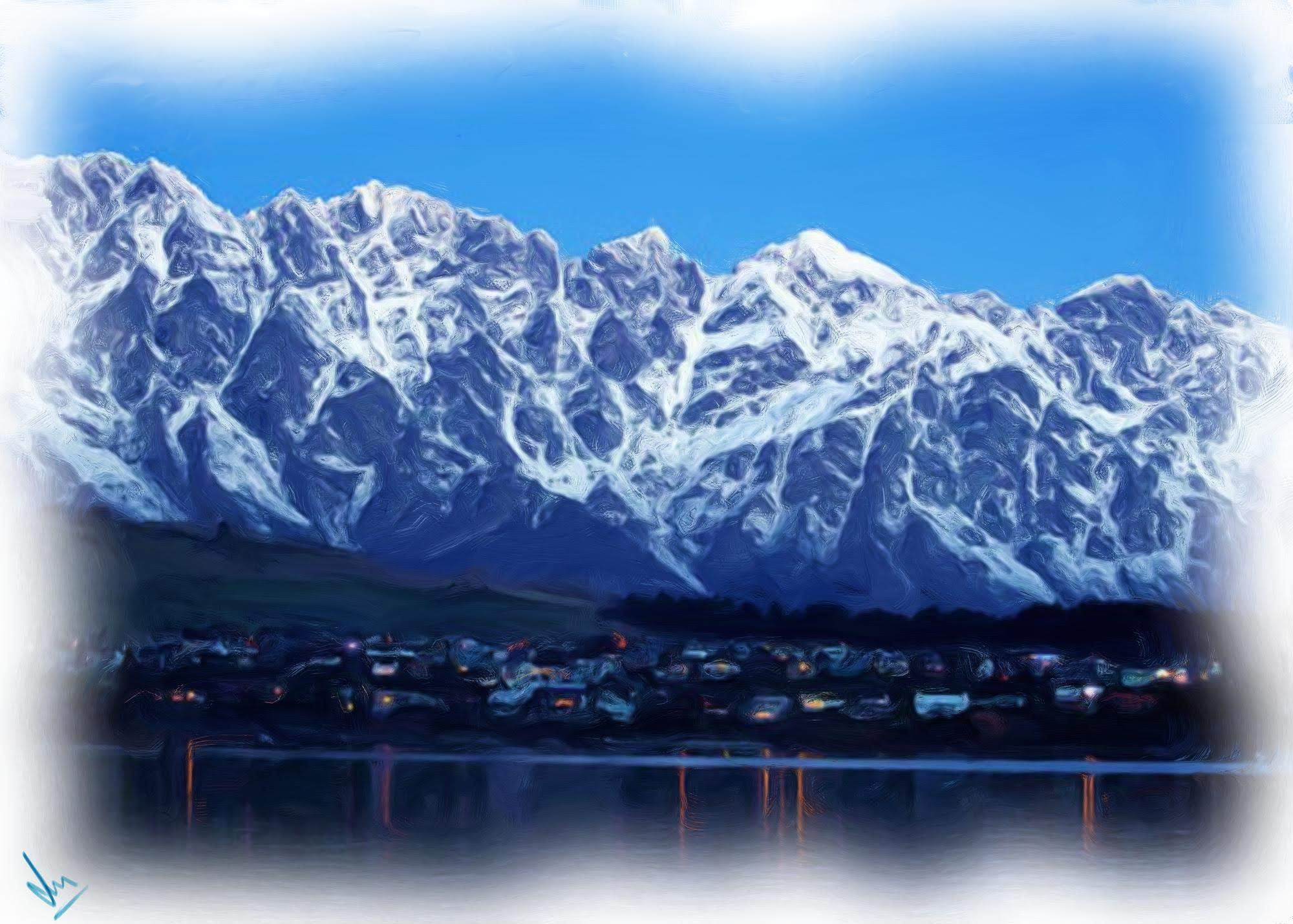 The Remarkables covered with snow in Winter - Digital Painting by Shaalyn Monteiro