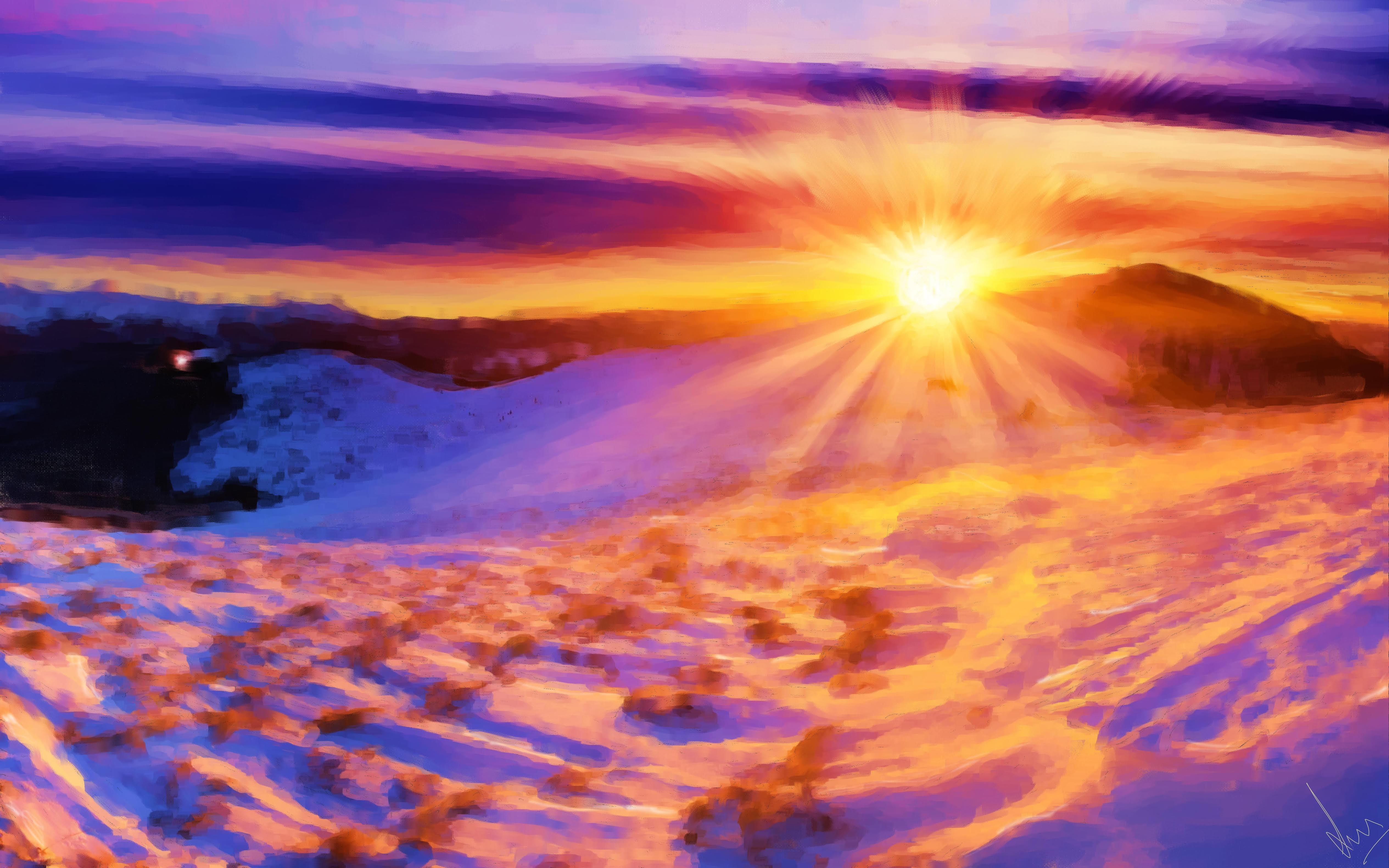 Snowy Sunrise - Digital Painting by Shaalyn Monteiro