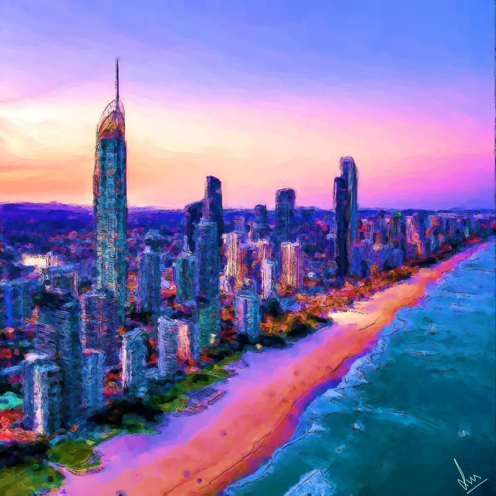 Surfer's Paradise, Goldcoast, Queensland, Australia - Digital Painting by Shaalyn Monteiro
