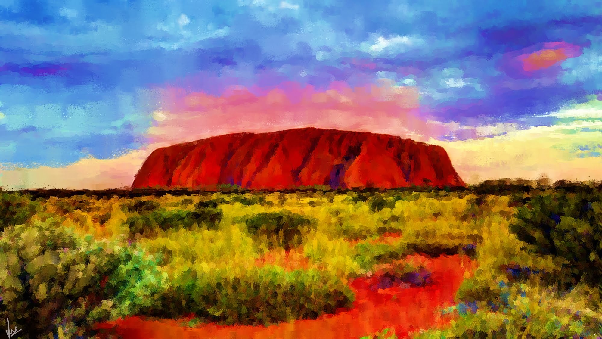 Ayer's Rock, Uluru, Northern Territory, Australia - Digital Painting by Shaalyn Monteiro