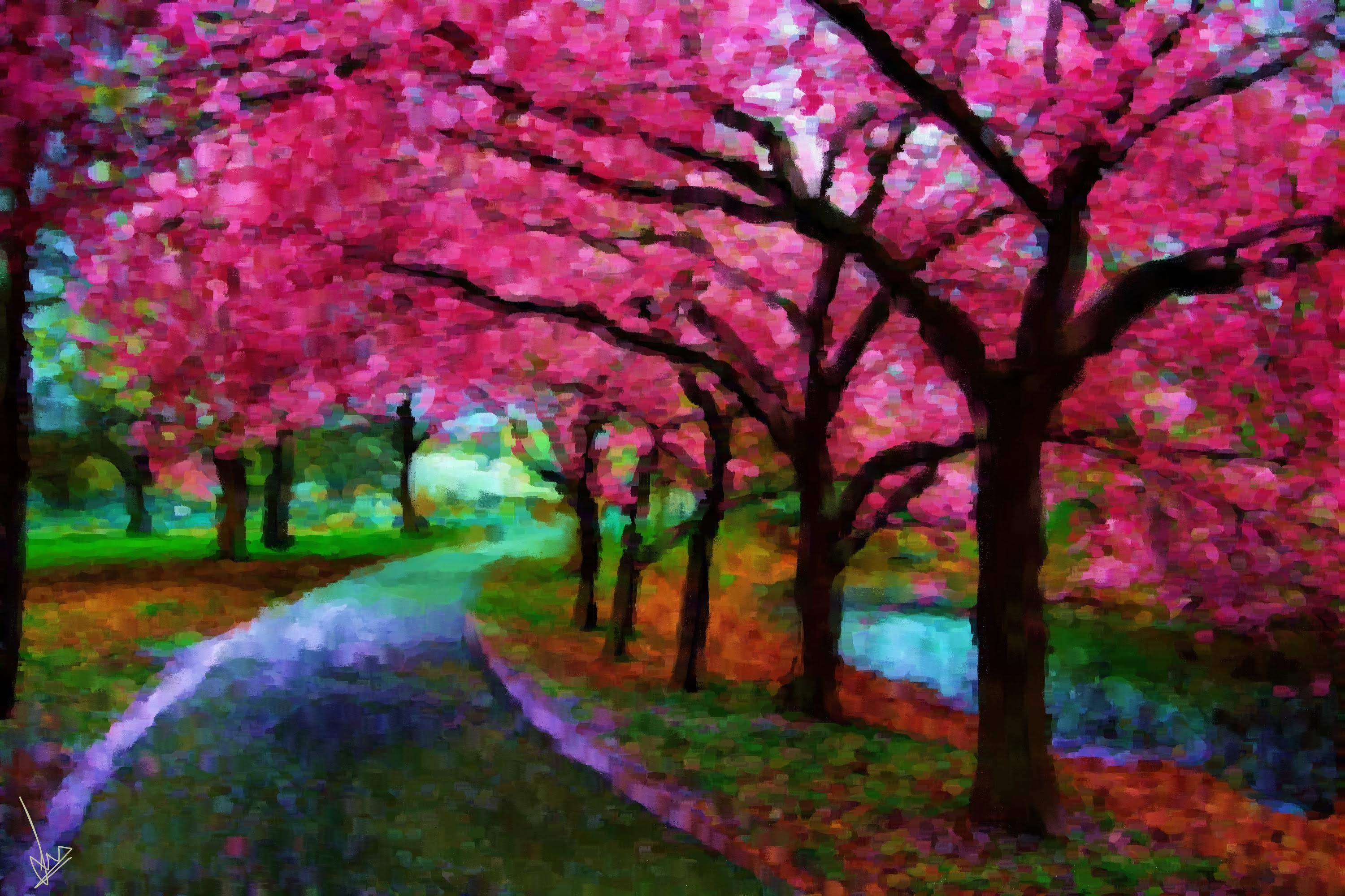 Beautiful Cherry Blossoms of Japan - Digital Painting by Shaalyn Monteiro